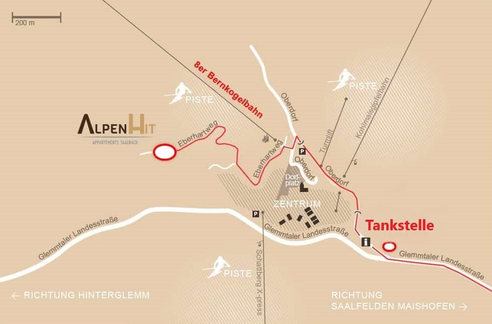 Alpen Hit Appartements Saalbach - Anfahrtsplan